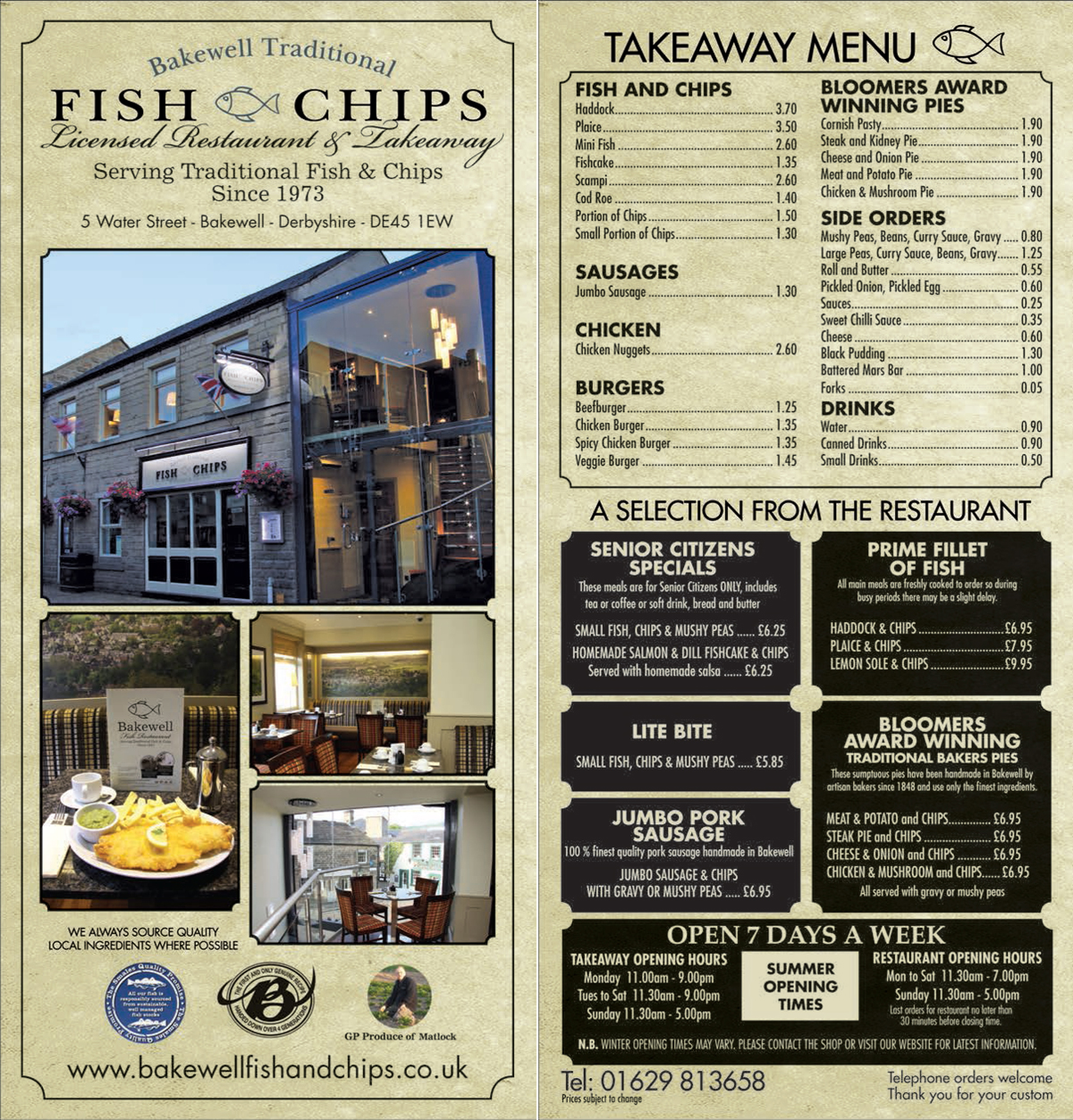 Pin traditional takeaway menu the village chef little for Little fish menu